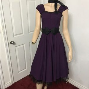 Pinup,Rockabilly, Retro, Vintage purple dress